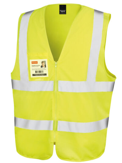 Result Safeguard Zip Safety Tabard Hi-Vis Yellow