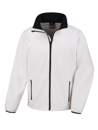 Result Core Men's Printable Softshell Jacket White and Black