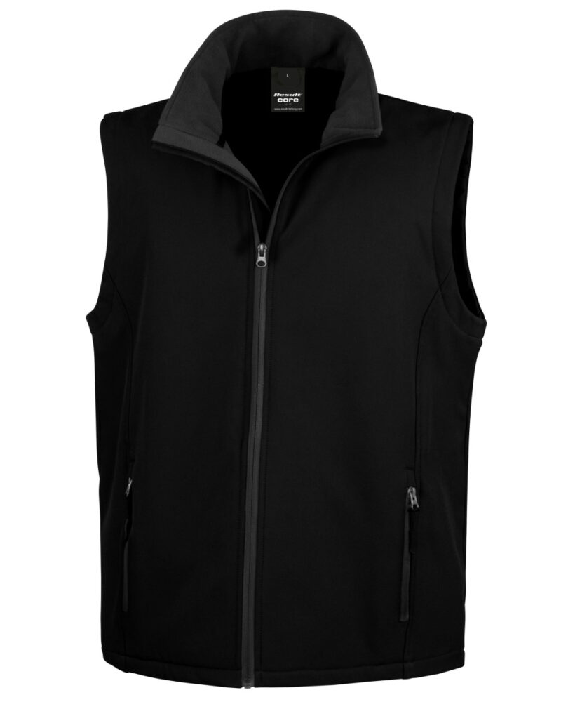 Result Core Men's Printable Softshell Bodywarmer Black and Black