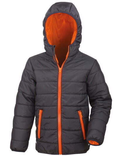 Result Core Children's Soft Padded Jacket Black and Orange