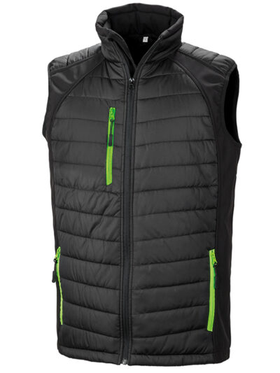 Result Black Compass Pad Softshell Gilet Black and Lime Green