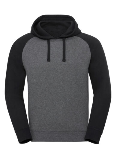 Russell Authentic Hooded Baseball Sweat Carbon Melange and Black