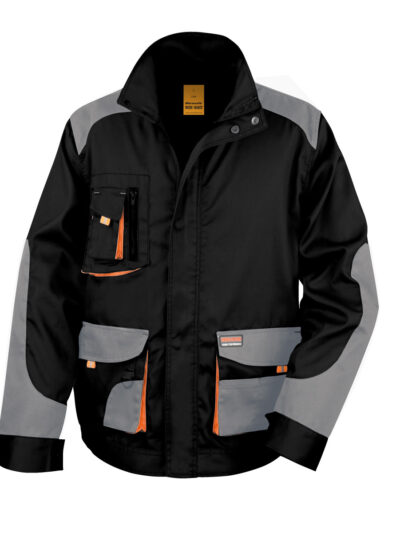 WORK-GUARD by Result Lite Jacket Black and Grey and Orange