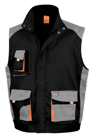 WORK-GUARD by Result Lite Gilet Black and Grey and Orange