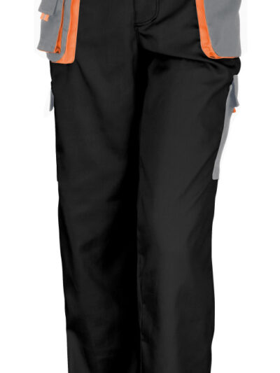 WORK-GUARD by Result Lite Trousers Black and Grey and Orange