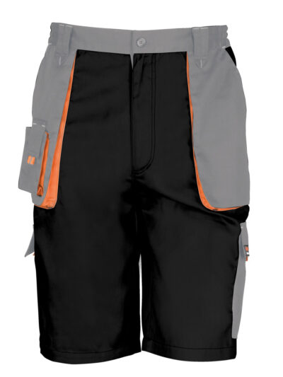 WORK-GUARD by Result Lite Shorts Black and Grey and Orange