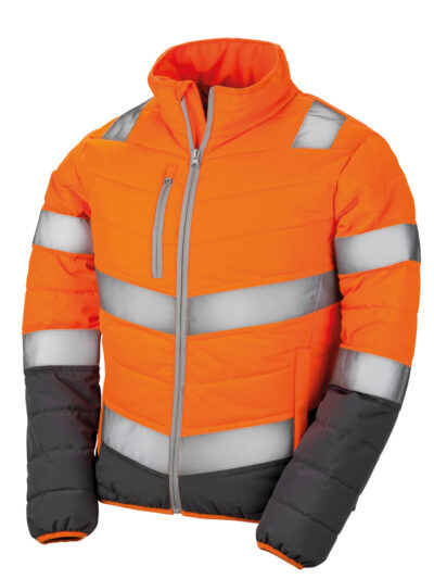 Result Safeguard Women's Soft Padded Safety Jacket Fluorescent Orange