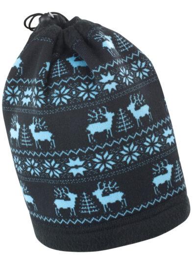 Result Winter Essentials Reindeer Snood Hat Black and Aqua