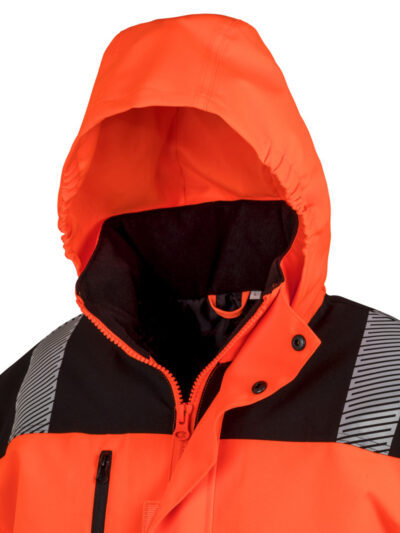 Result Safeguard Extreme Tech Printable Softshell Safety Coat Fluorescent Orange and Black