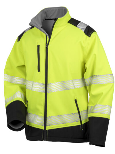 Result Safeguard Printable Ripstop Safety Softshell Fluorescent Yellow and Black