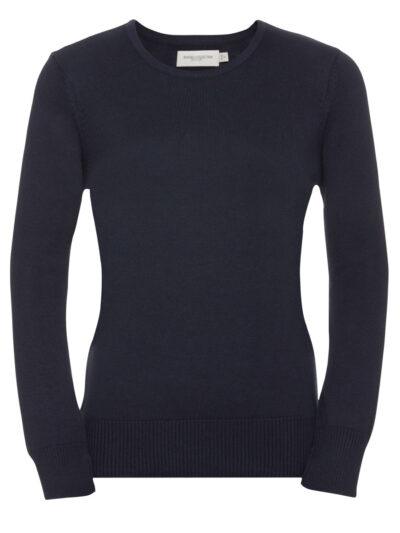 Russell Collection Ladies' Crew Neck Knitted Pullover Black