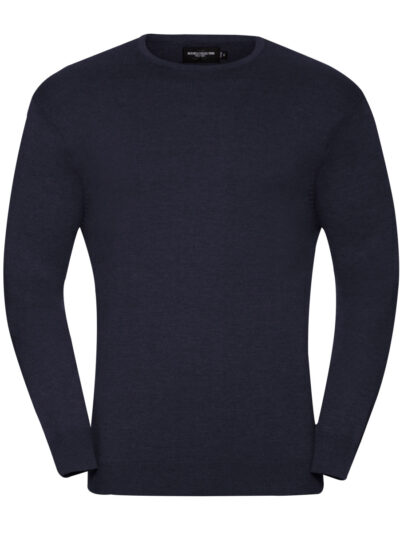 Russell Collection Men's Crew Neck Knitted Pullover French Navy