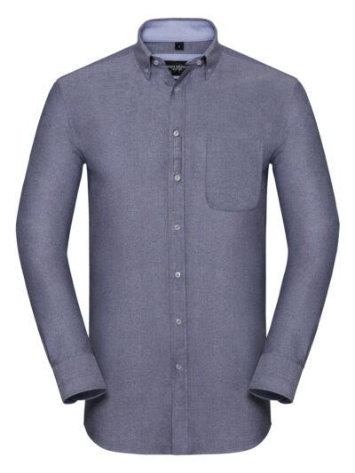 Russell Collection Men's Long Sleeve Tailored Washed Oxford Shirt Oxford Navy and Oxford Blue