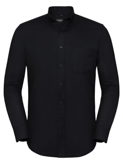 Russell Collection Men's Long Sleeve Tailored Button-Down Oxford Shirt Black
