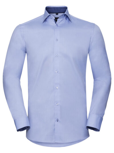 Russell Collection Men's Long Sleeve Tailored Contrast Herringbone Shirt  Light Blue and Mid Blue and Bright Navy