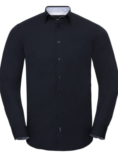 Russell Collection Men's Long Sleeve Tailored Contrast Ultimate Stretch Shirt  Bright Navy and Oxford Blue and White
