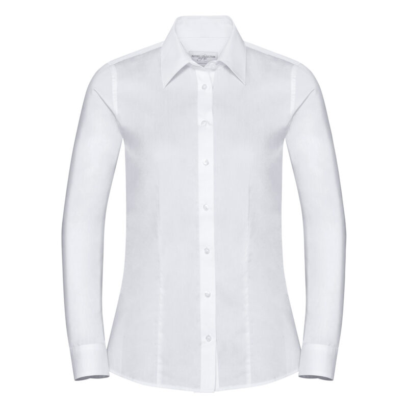 Russell Collection Ladies' Long Sleeve Tailored Coolmax® Shirt White