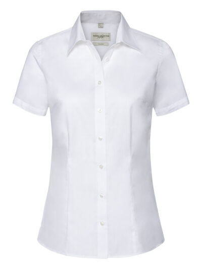 Russell Collection Ladies' Short Sleeve Tailored Coolmax® Shirt White