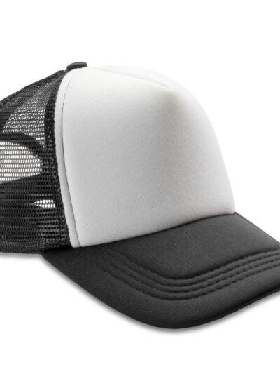 Result Headwear Detroit 1/2 Mesh Truckers Cap Black and White