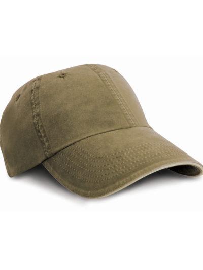 Washed Fine Line Cotton Cap With Sandwich Peak