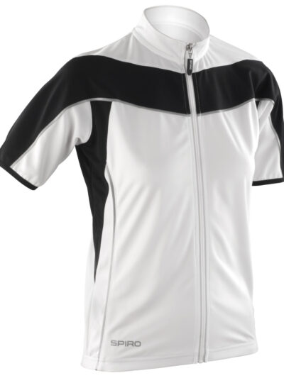 Spiro Ladies' Bikewear Short Sleeve Performance Top White and Black