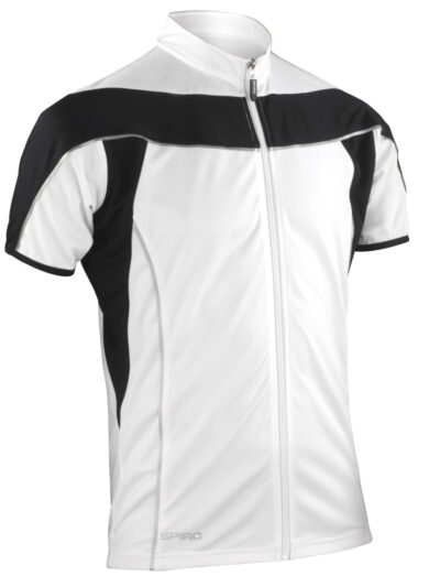 Spiro Men's Bikewear Full Zip Performance Top White and Black