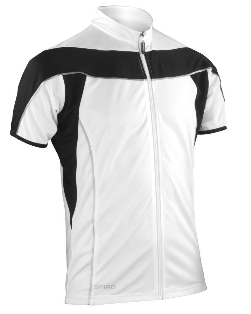 Spiro Men's Bikewear Full Zip Performance Top White and Black