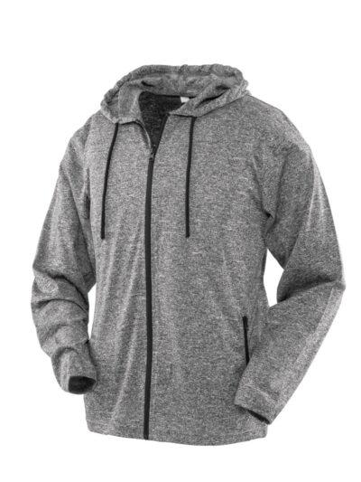 SPIRO FITNESS Women's Hooded Tee-Jacket Grey and Black
