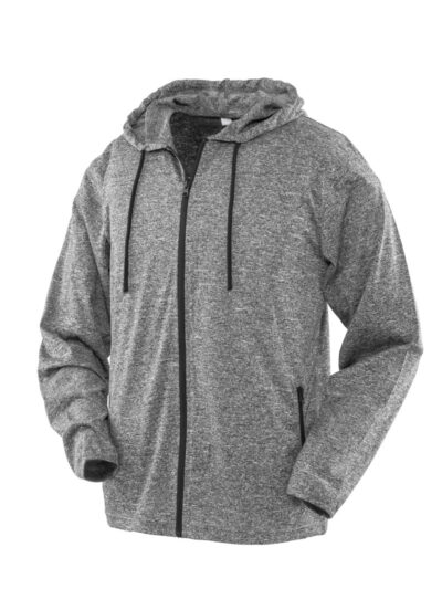 SPIRO FITNESS Men's Hooded Tee-Jacket Grey and Black