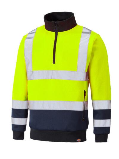 Dickies Hi-Vis Quarter Zip Sweatshirt Hi-Vis Yellow and Navy