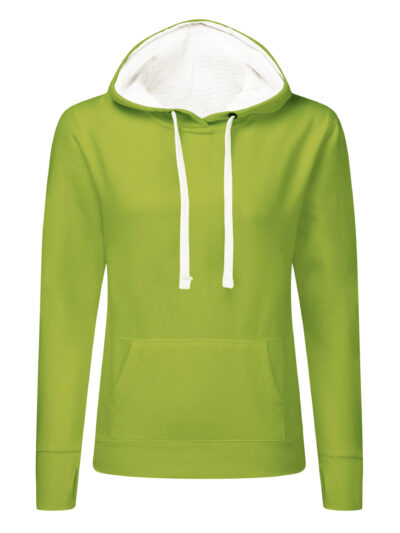 SG Ladies' Contrast Hoodie Lime and White