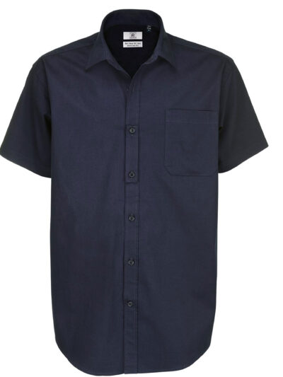 B&C Men's Sharp Short Sleeve Shirt Navy Blue