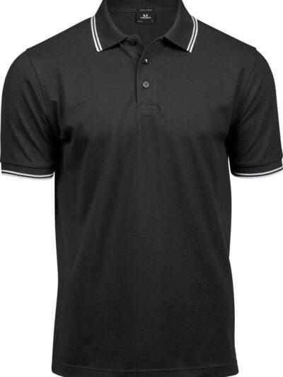 Tee Jays Men's Luxury Stripe Stretch Polo Black and White