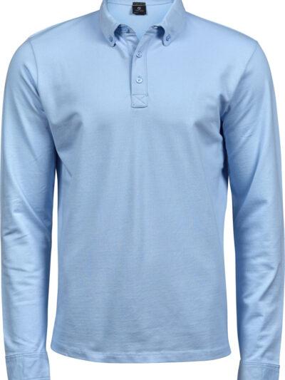 Tee Jays Men's Fashion Long Sleeve Luxury Stretch Polo Light Blue