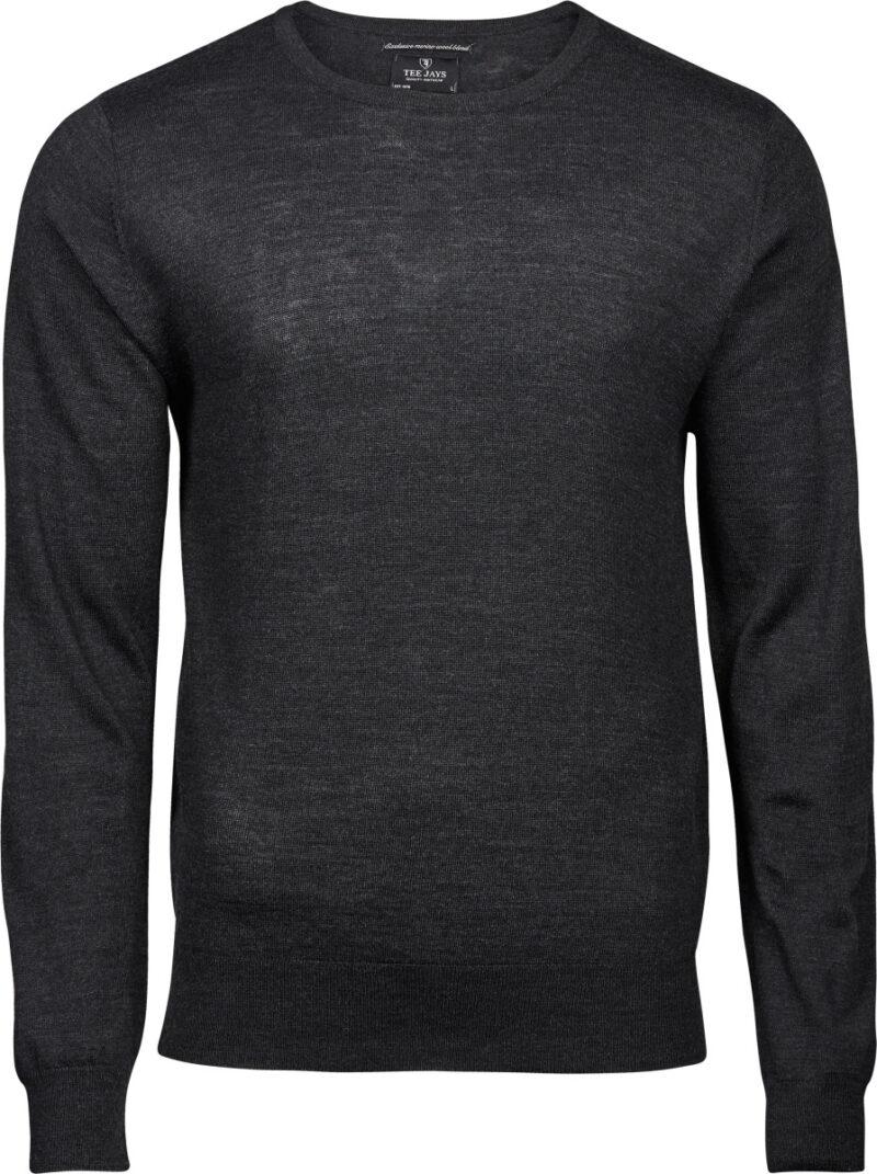 Tee Jays Men's Crew Neck Knitted Sweater Dark Grey