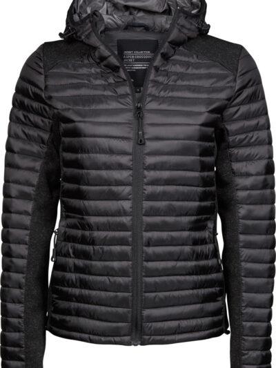 Tee Jays Ladies' Hooded Outdoor Crossover Black and Black Melange