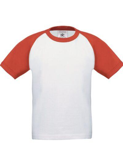 B&C Kids Short Sleeve Baseball Tee White and Red