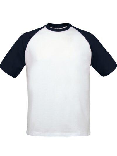B&C Mens S/Sleeve Baseball Tee White and Navy
