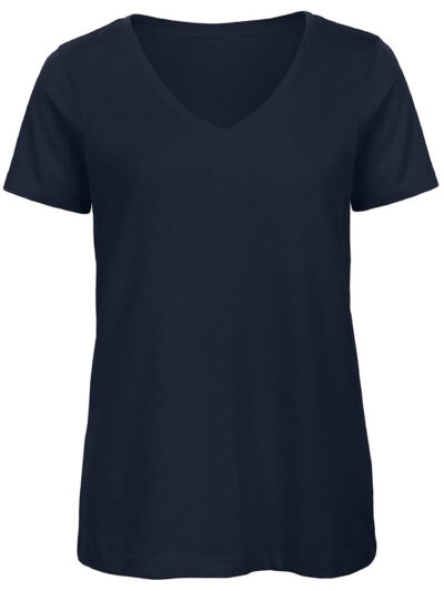 B&C Women's Organic Inspire V-Neck Tee Navy Blue