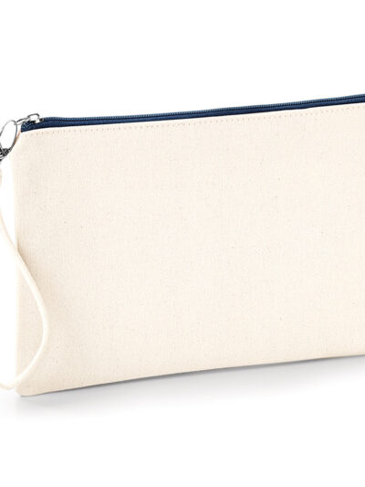 Westford Mill Canvas Wristlet Pouch Natural and Navy