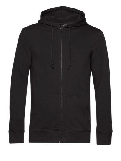 B&C Men's Organic Zipped Hood Black Pure