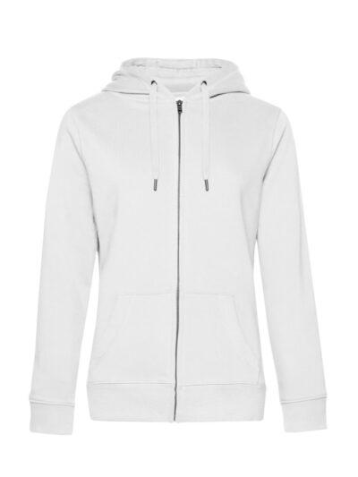 B&C Women's Queen Zipped Hooded Sweat White